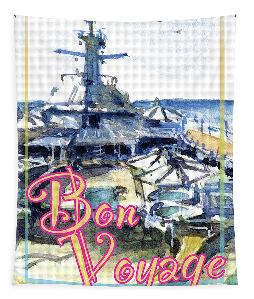 Cruise Tapestry featuring the painting Bon Voyage Cruise by John D Benson