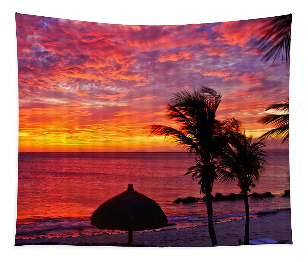 Sunset Tapestry featuring the photograph Bonaire Sunset 1 by Stephen Anderson
