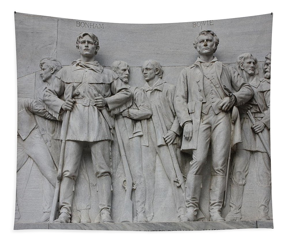Alamo Tapestry featuring the photograph Bonham And Bowie On Alamo Monument by Carol Groenen