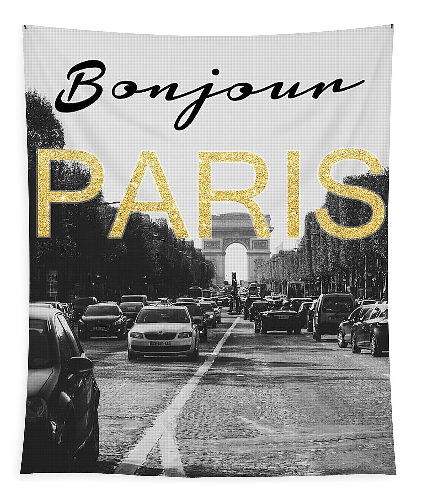 Bonjour Tapestry featuring the mixed media Bonjour Paris by Pati Photography