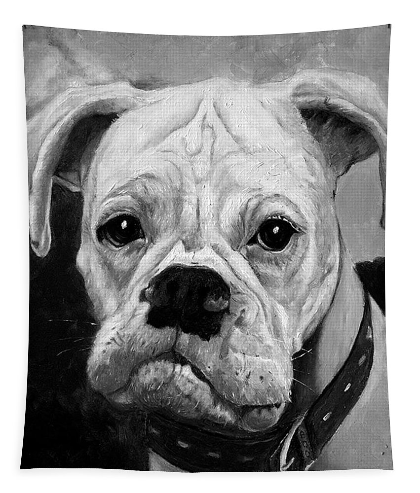 Boxer Tapestry featuring the painting Boo the Boxer by Portraits By NC