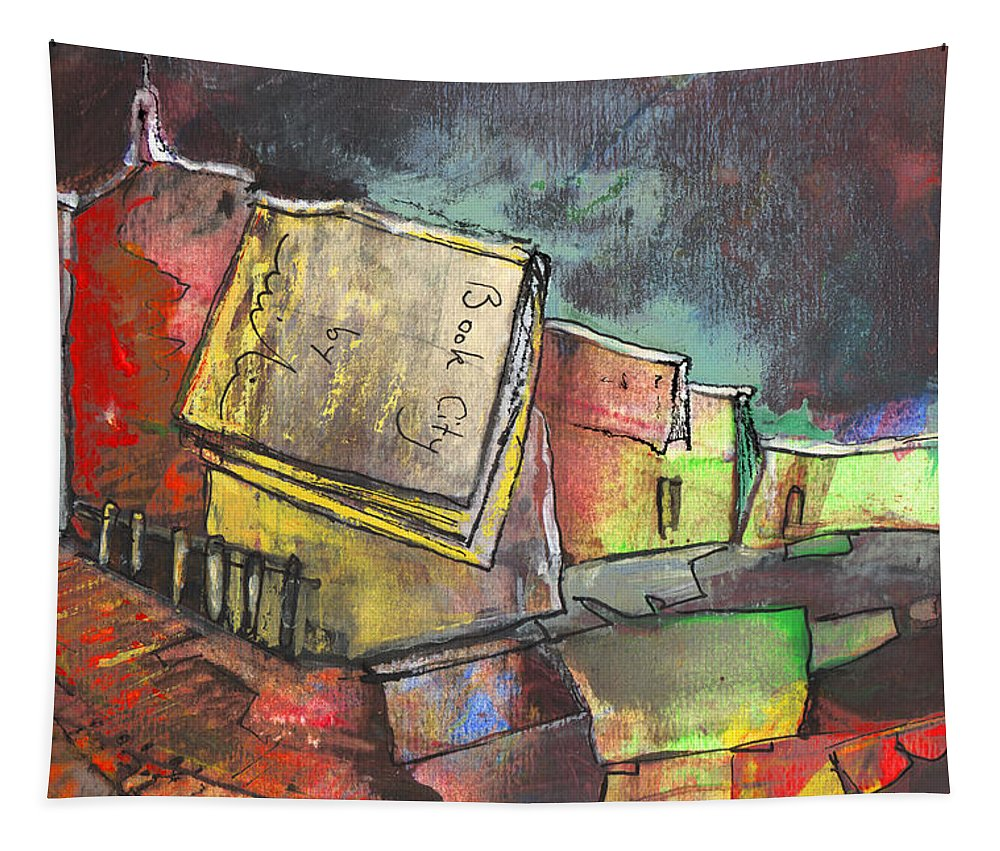 Books Tapestry featuring the painting Book City by Miki De Goodaboom