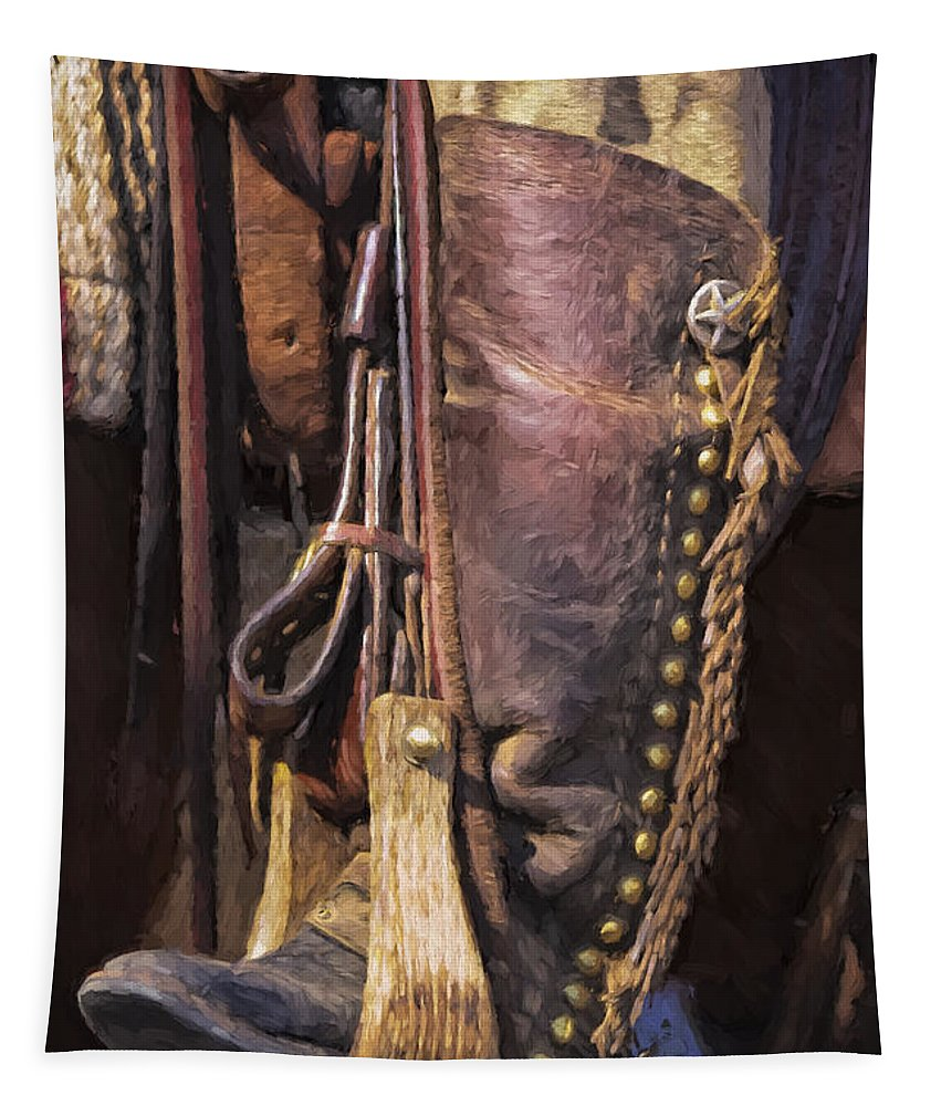 Joan Carroll Tapestry featuring the photograph Boots Of A Drover 2015 by Joan Carroll