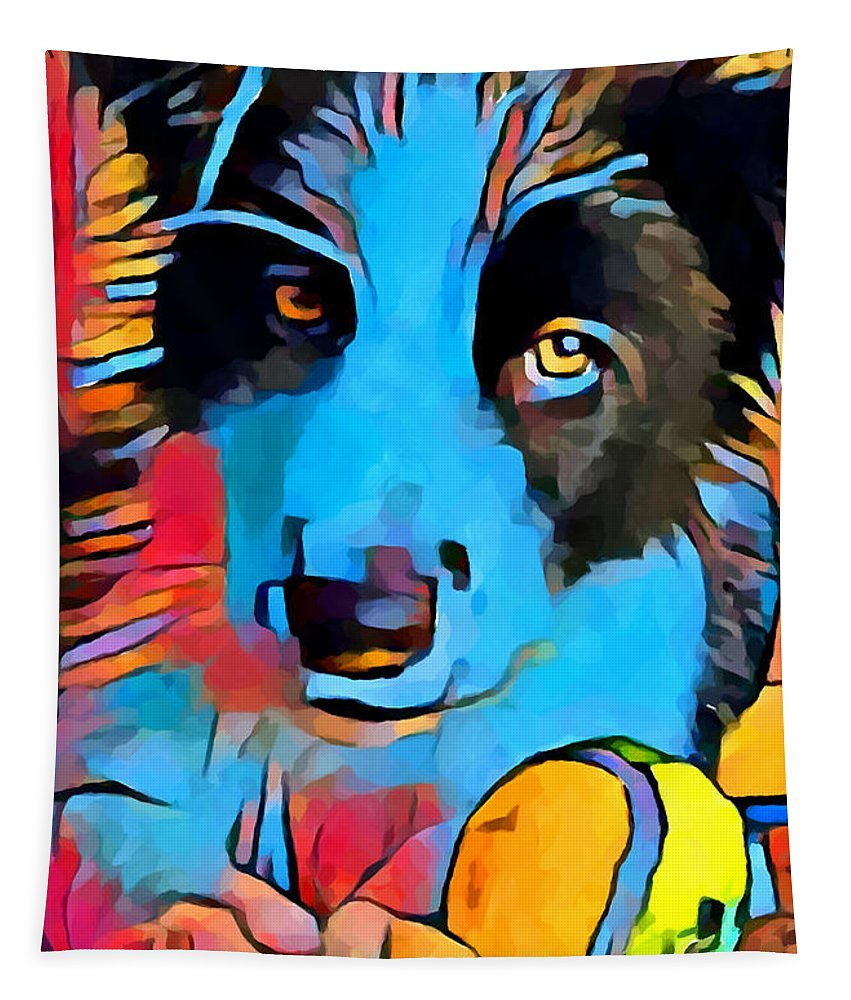 Border Collie Tapestry featuring the painting Border Collie by Chris Butler