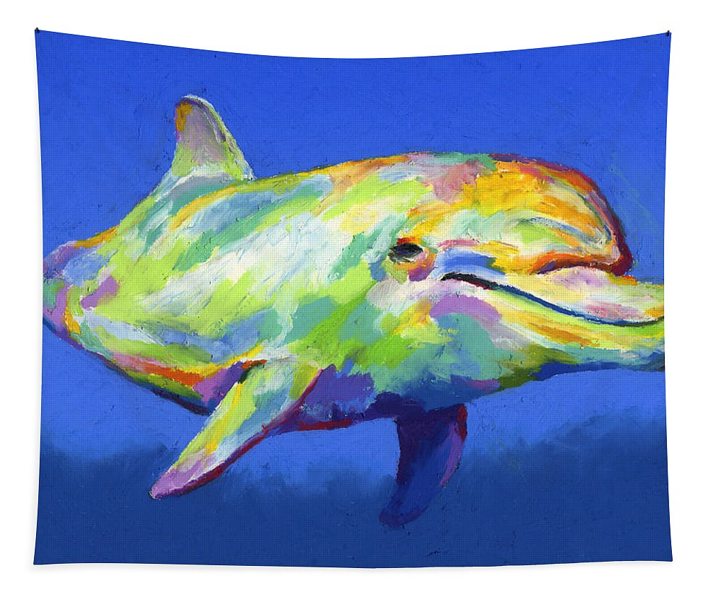 Dolphin Tapestry featuring the pastel Born To Live Wild by Stephen Anderson