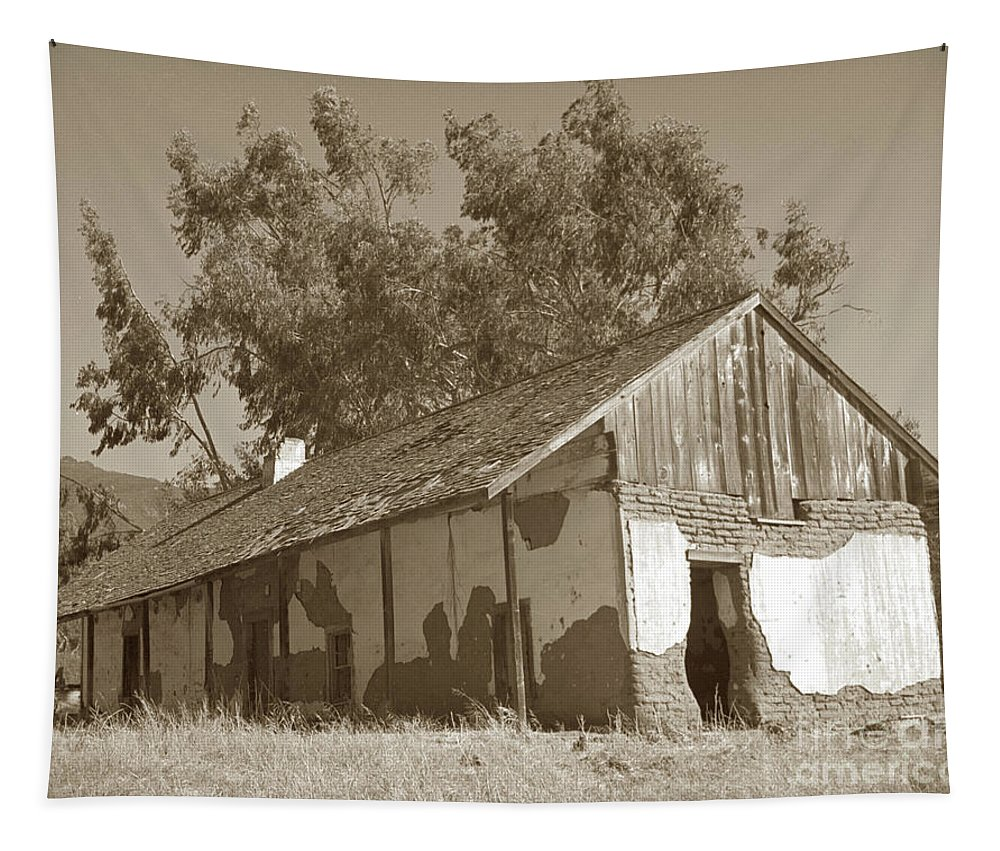 Boronda Tapestry featuring the photograph Boronda Adobe In Carmel Valley 1940 by California Views Archives Mr Pat Hathaway Archives
