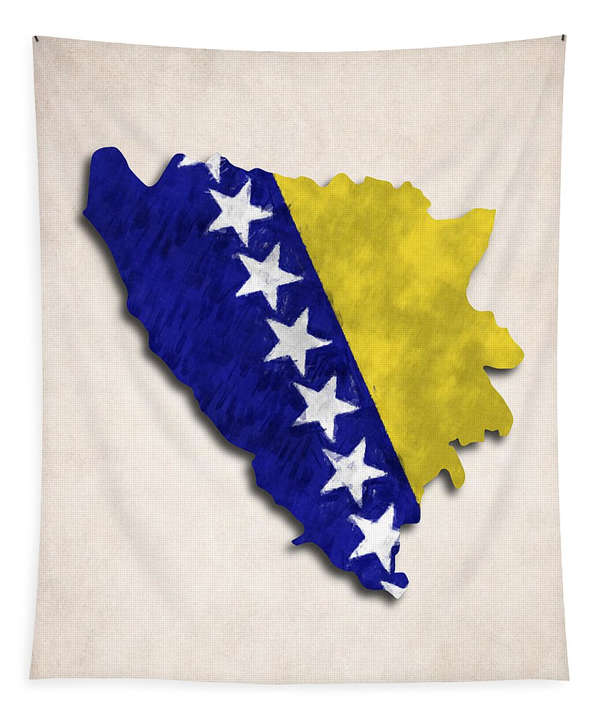 Bosnia And Herzegovina Tapestry featuring the digital art Bosnia And Herzegovina Map Art With Flag Design by World Art Prints And Designs