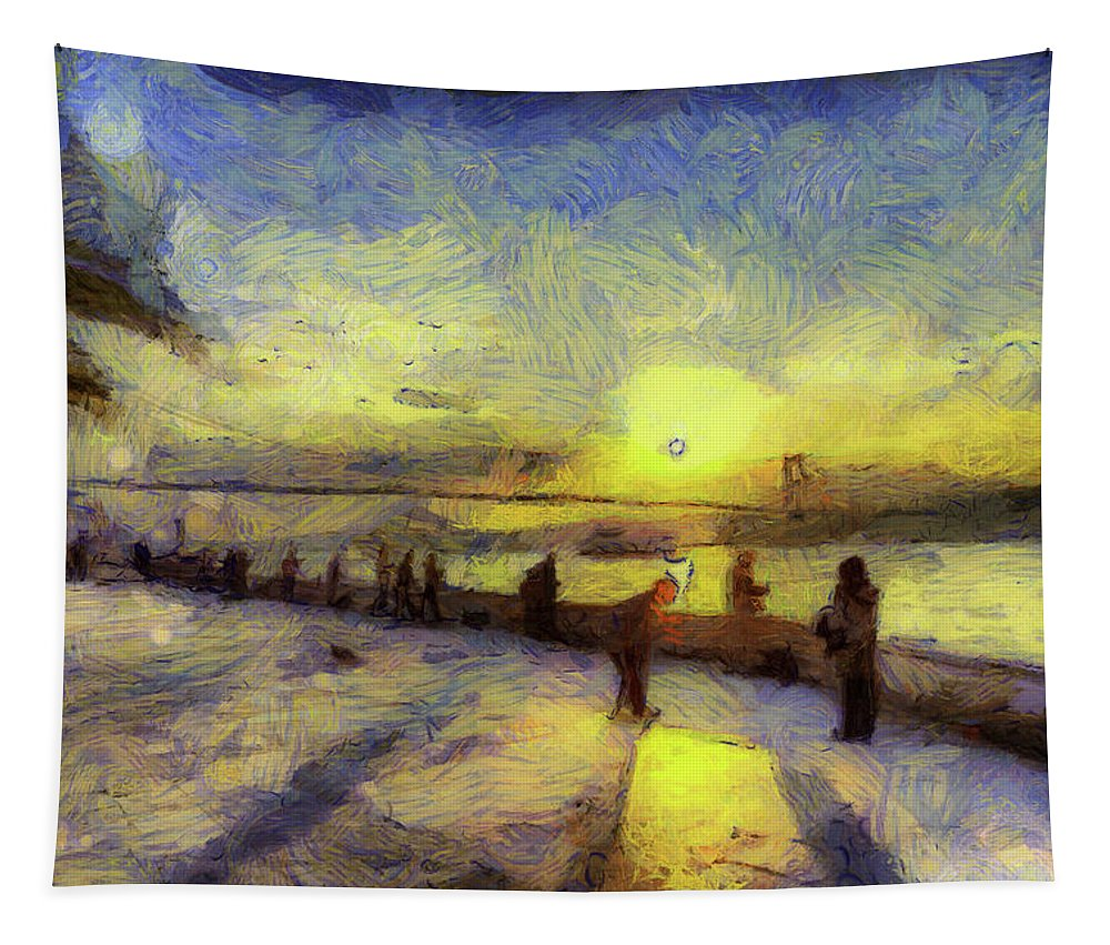 Vincent Van Gogh Tapestry featuring the mixed media Bosphorus Sunset Art by David Pyatt
