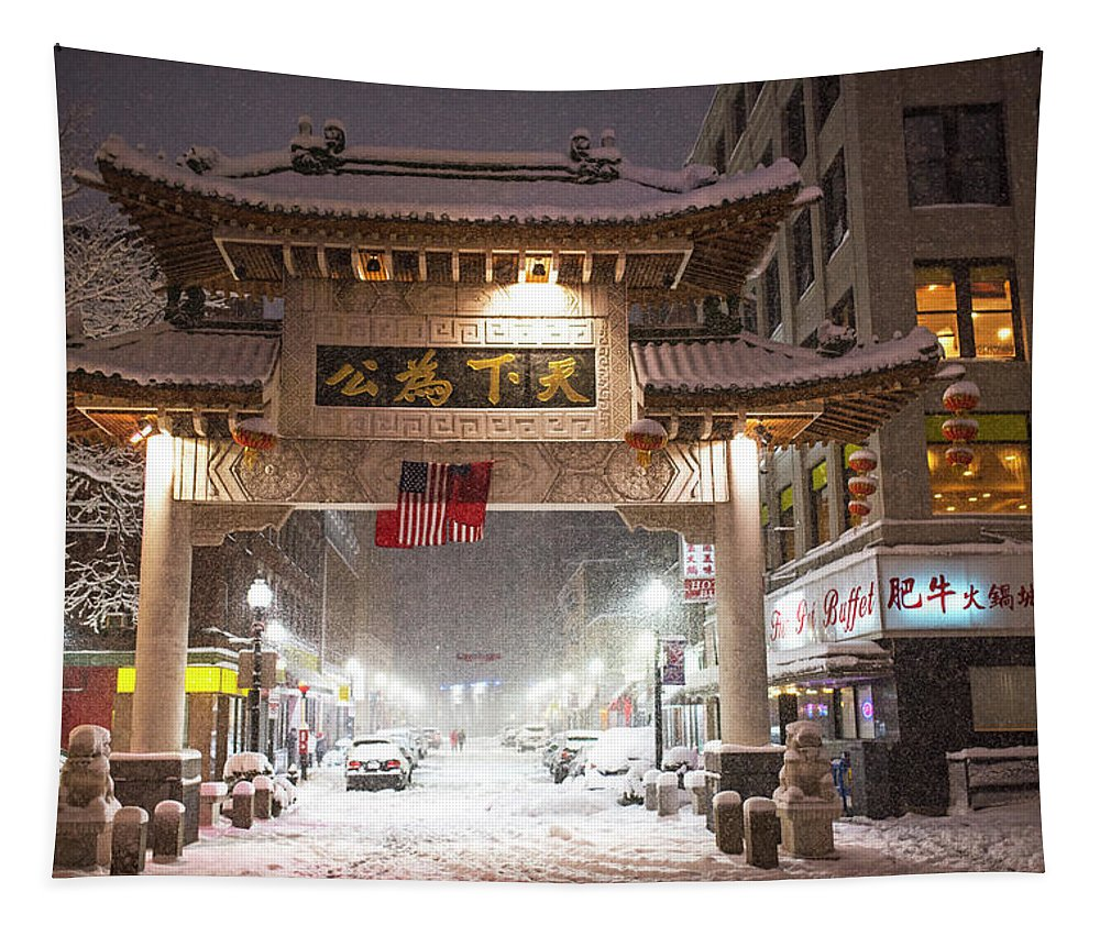 Boston Tapestry featuring the photograph Boston Chinatown Gate During Snowsstorm Skylar Boston Ma by Toby McGuire