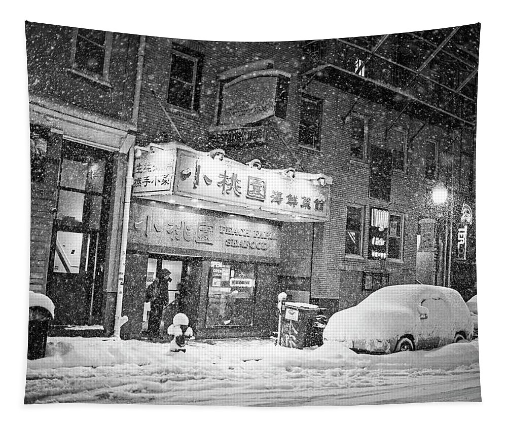 Boston Tapestry featuring the photograph Boston Chinatown Snowstorm Tyler St Black And White by Toby McGuire