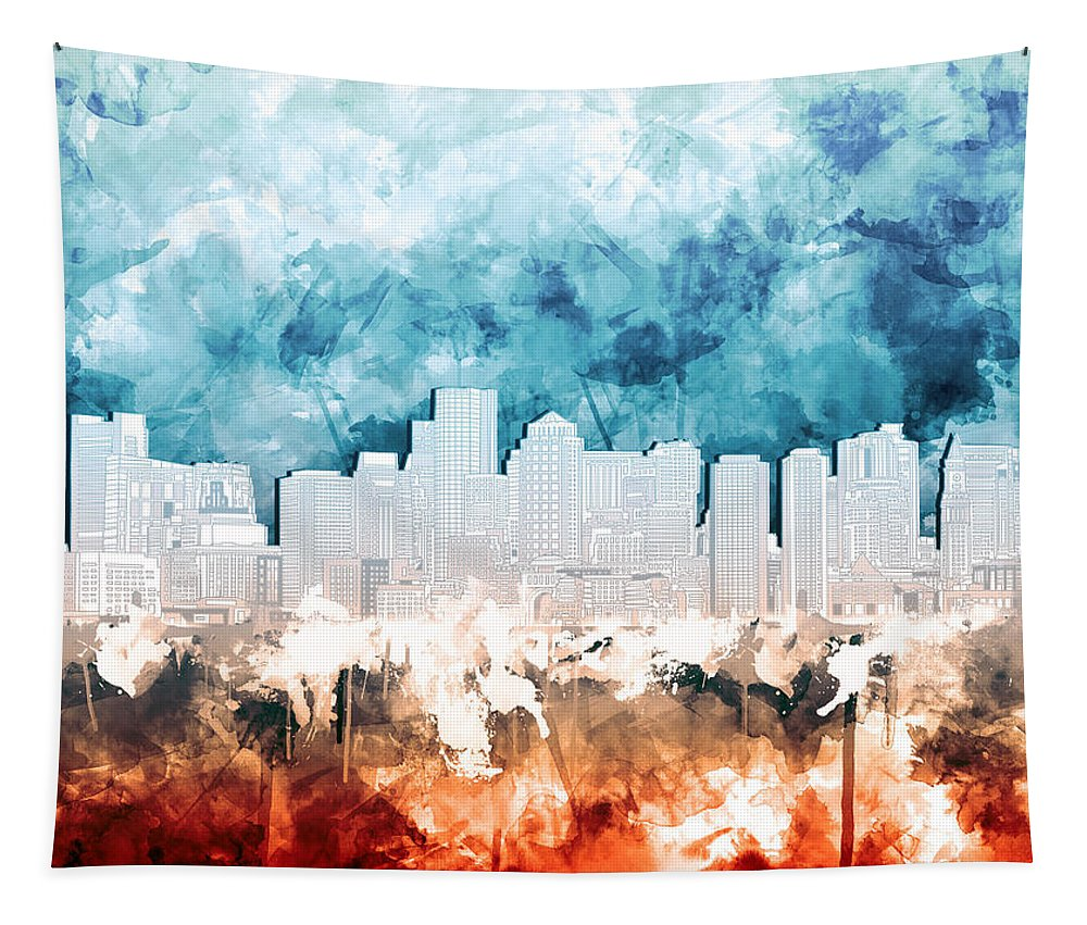 Boston Tapestry featuring the painting Boston City Skyline Watercolor 2 by Bekim Art