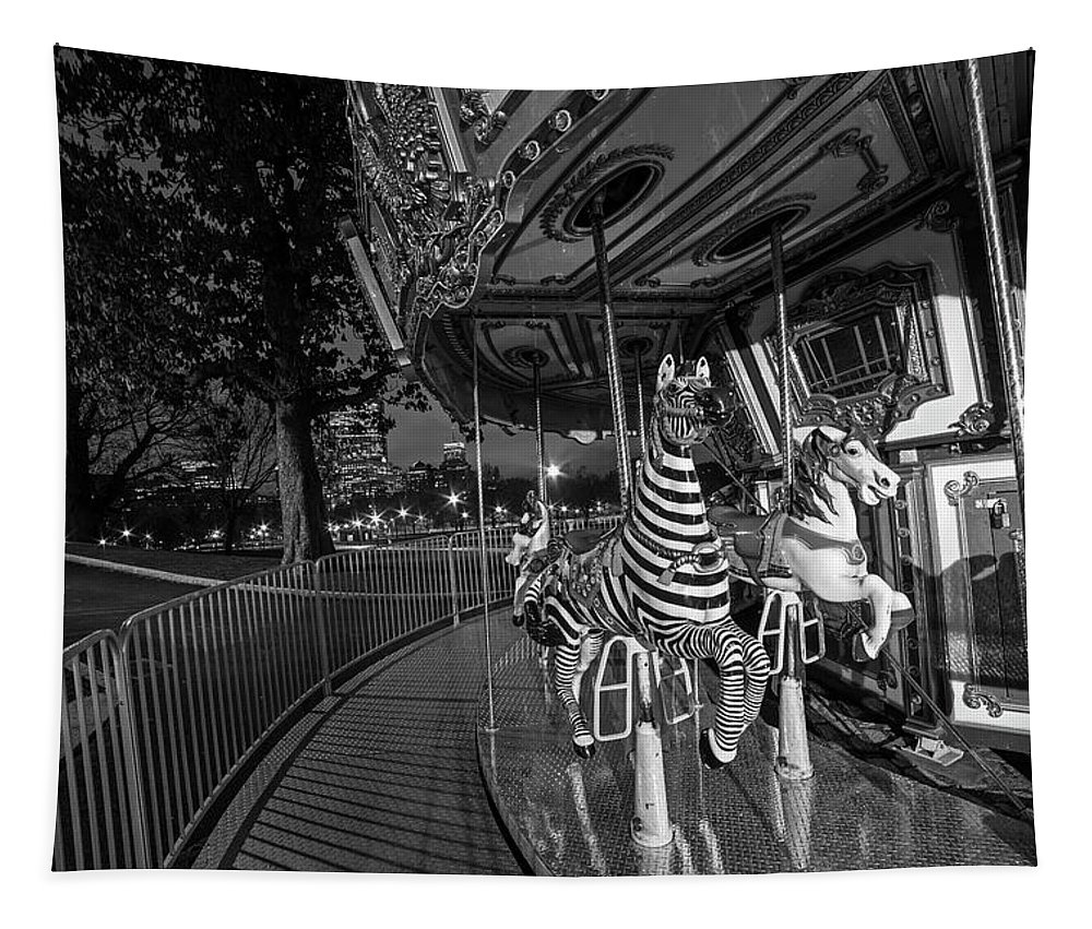 Boston Tapestry featuring the photograph Boston Common Carousel Boston Ma Black And White by Toby McGuire