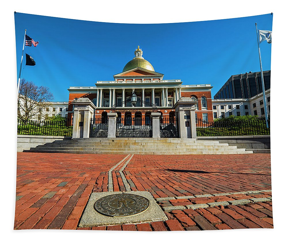 Boston Tapestry featuring the photograph Boston Freedom Trail To State House Boston Ma by Toby McGuire