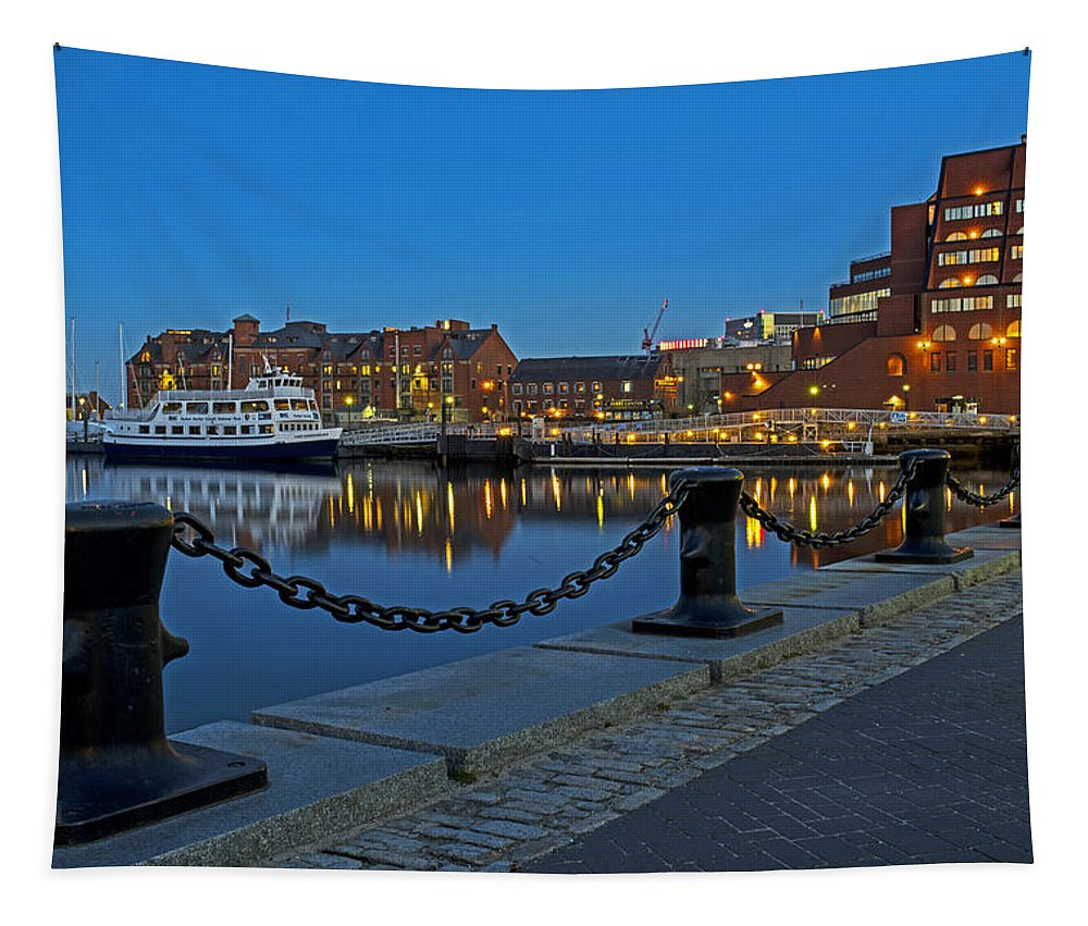 Boston Tapestry featuring the photograph Boston Harbor At Dusk Boston Ma by Toby McGuire