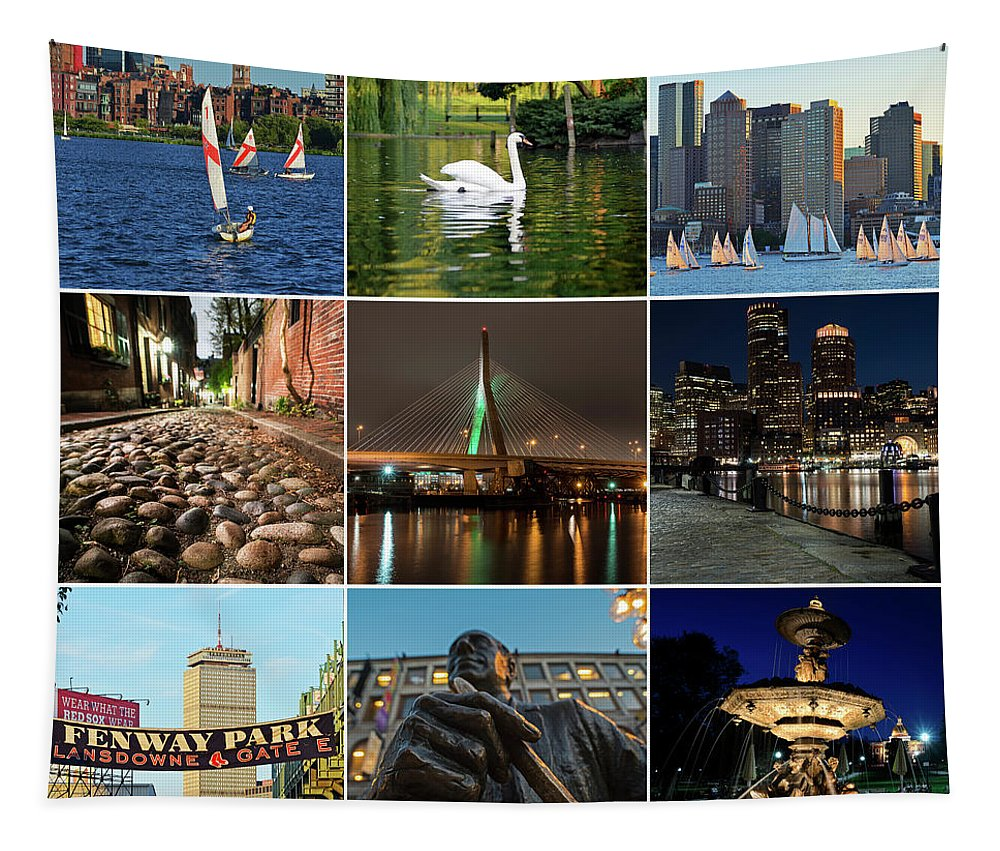 Boston Tapestry featuring the photograph Boston Ma Nine Image Collage 1 by Toby McGuire