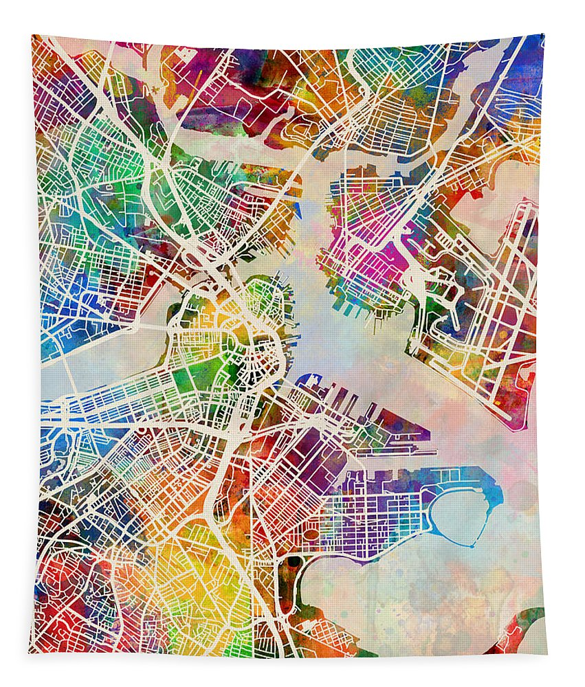 Street Map Tapestry featuring the digital art Boston Massachusetts Street Map by Michael Tompsett