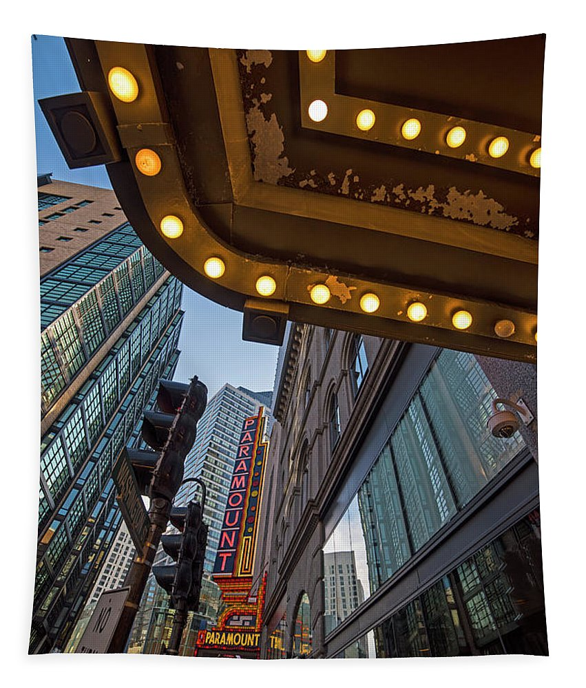 Boston Tapestry featuring the photograph Boston Paramount Theater District by Toby McGuire