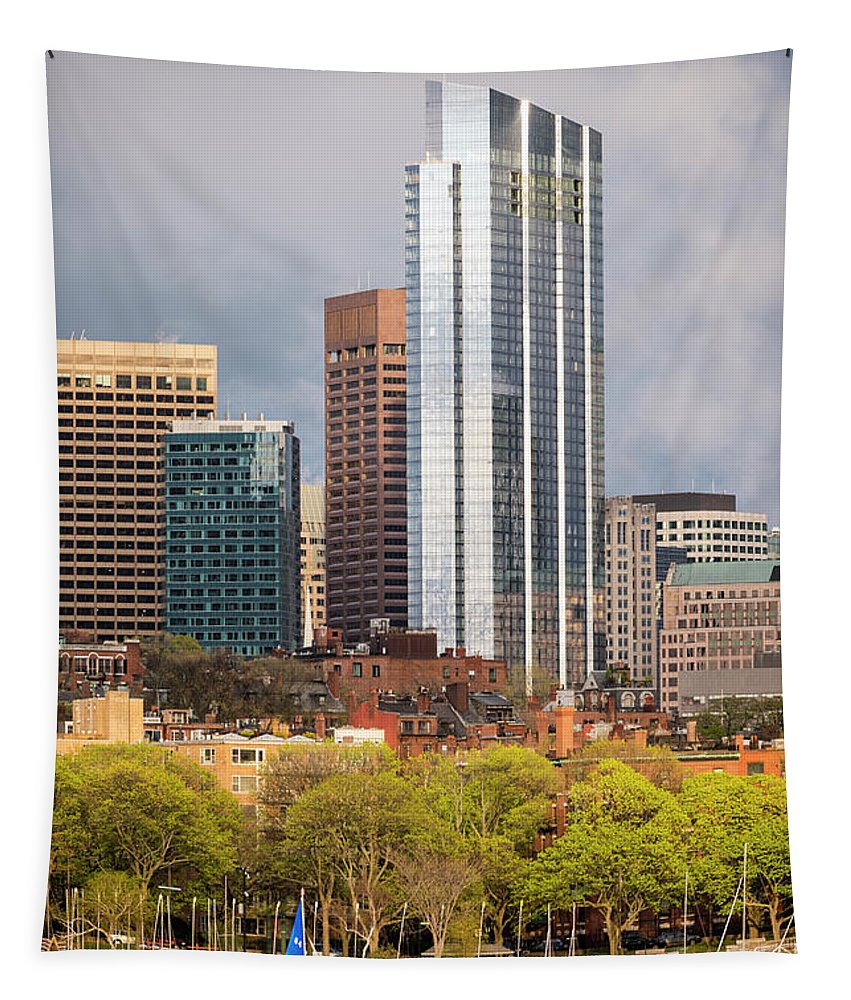 Boston Tapestry featuring the photograph Boston Skyline Skyscraper Boston Ma Charles River by Toby McGuire