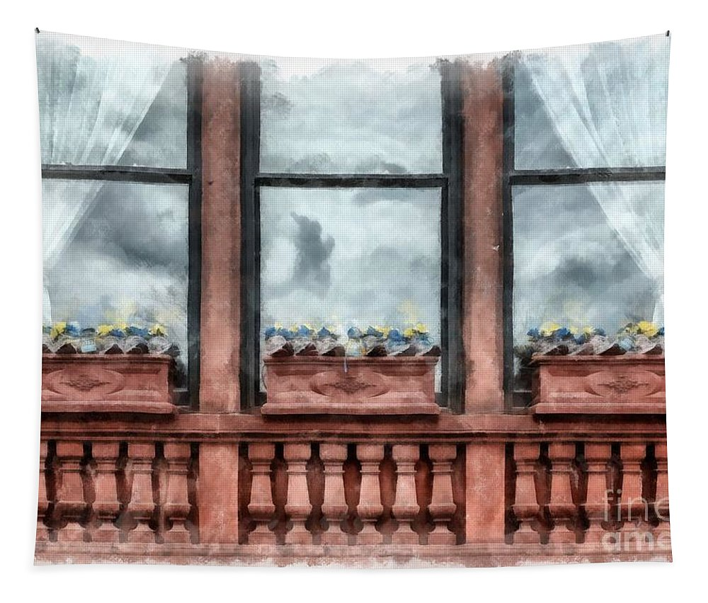 April Tapestry featuring the photograph Boston Strong Memorial Back Bay by Edward Fielding