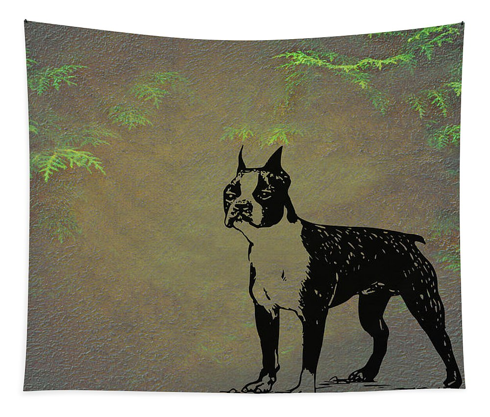 Boston Terrier Tapestry featuring the mixed media Boston Terrier by Movie Poster Prints