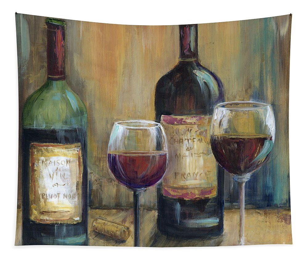 Red Wine Tapestry featuring the painting Bottles Of Red by Marilyn Dunlap