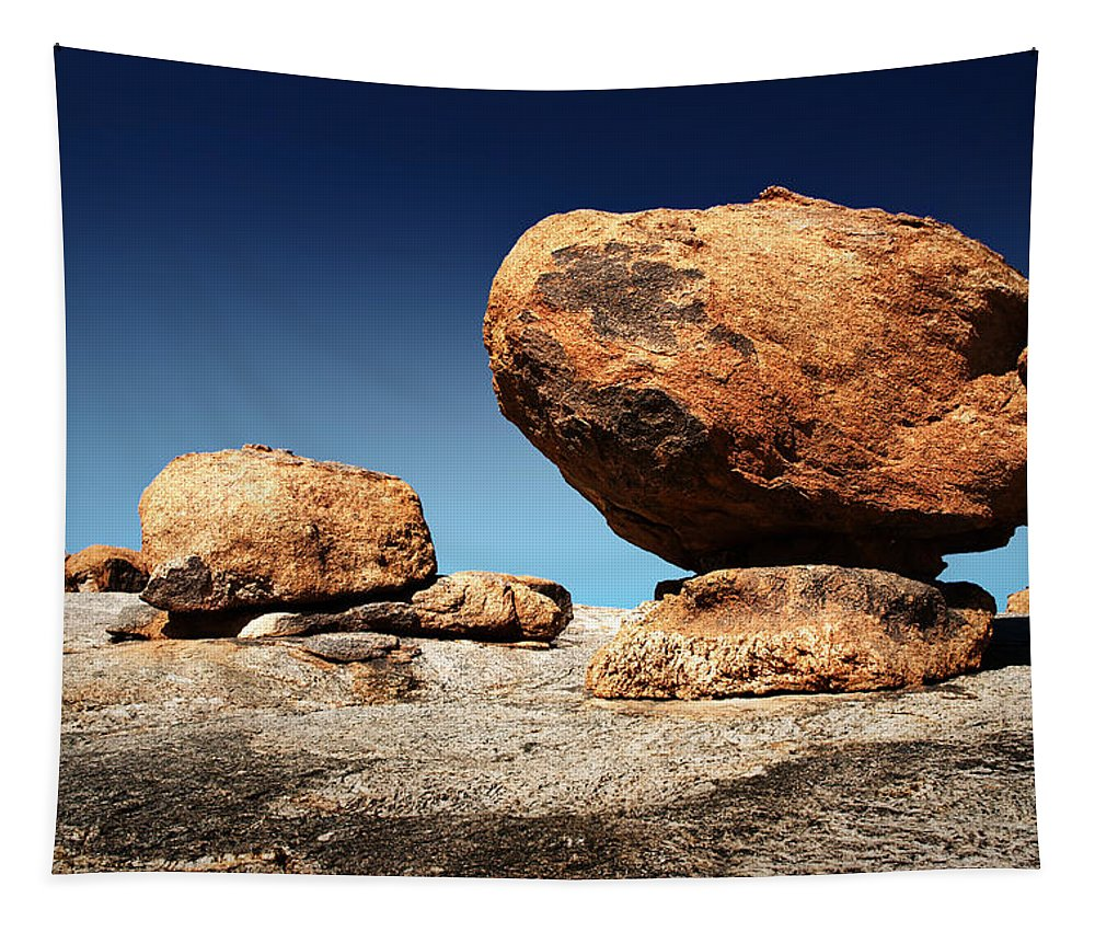 Large Tapestry featuring the photograph Boulder On Solid Rock by Johan Swanepoel