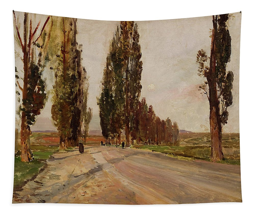 Painting Tapestry featuring the painting Boulevard Of Poplars Near Plankenberg by Emil Jakob
