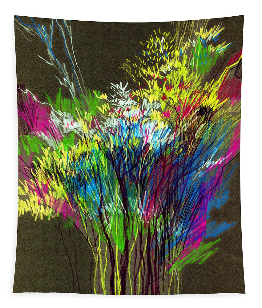 Flowers Tapestry featuring the painting Bouquet by Anil Nene