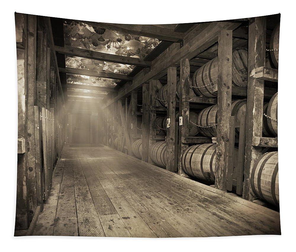 Bourbon Barrel Tapestry featuring the photograph Bourbon Barrels by Glass Glow by Karen Varnas