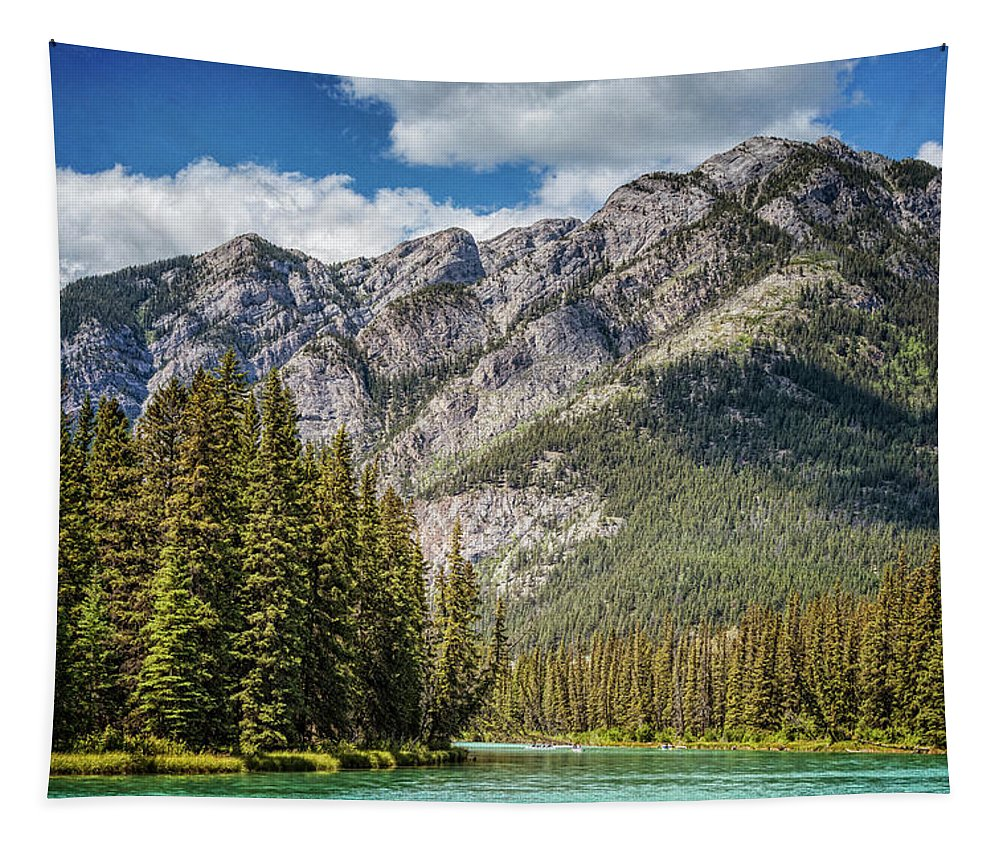 Joan Carroll Tapestry featuring the photograph Bow River Banff Alberta by Joan Carroll