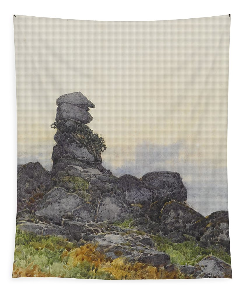 Landscape Tapestry featuring the painting Bowermans Nose, Manaton Dartmoor by Frederick John Widgery