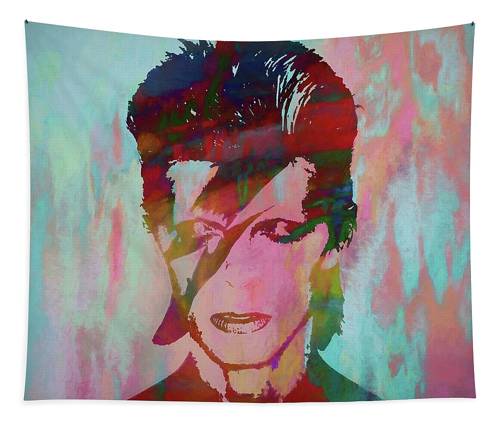Bowie Reflection Tapestry featuring the painting Bowie Reflection by Dan Sproul