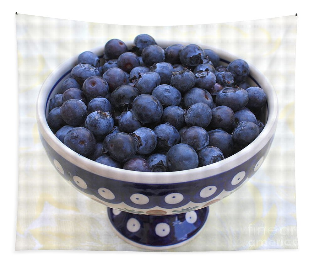Blueberries Tapestry featuring the photograph Bowl Of Blueberries by Carol Groenen