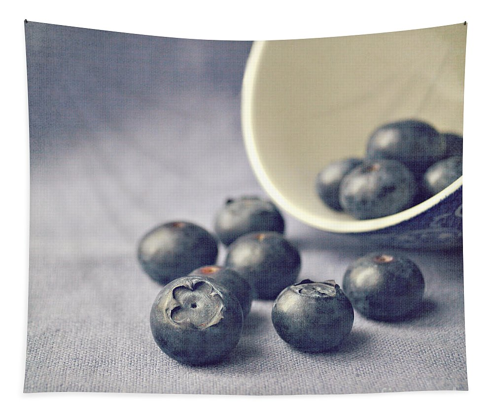 Blueberries Tapestry featuring the photograph Bowl of Blueberries by Lyn Randle