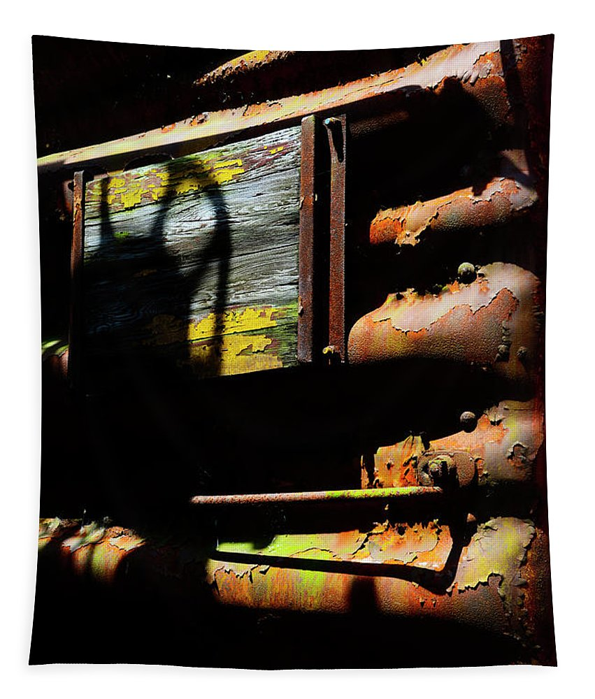 Railroad Tapestry featuring the photograph Boxcar Past Its Time by Paul W Faust - Impressions of Light
