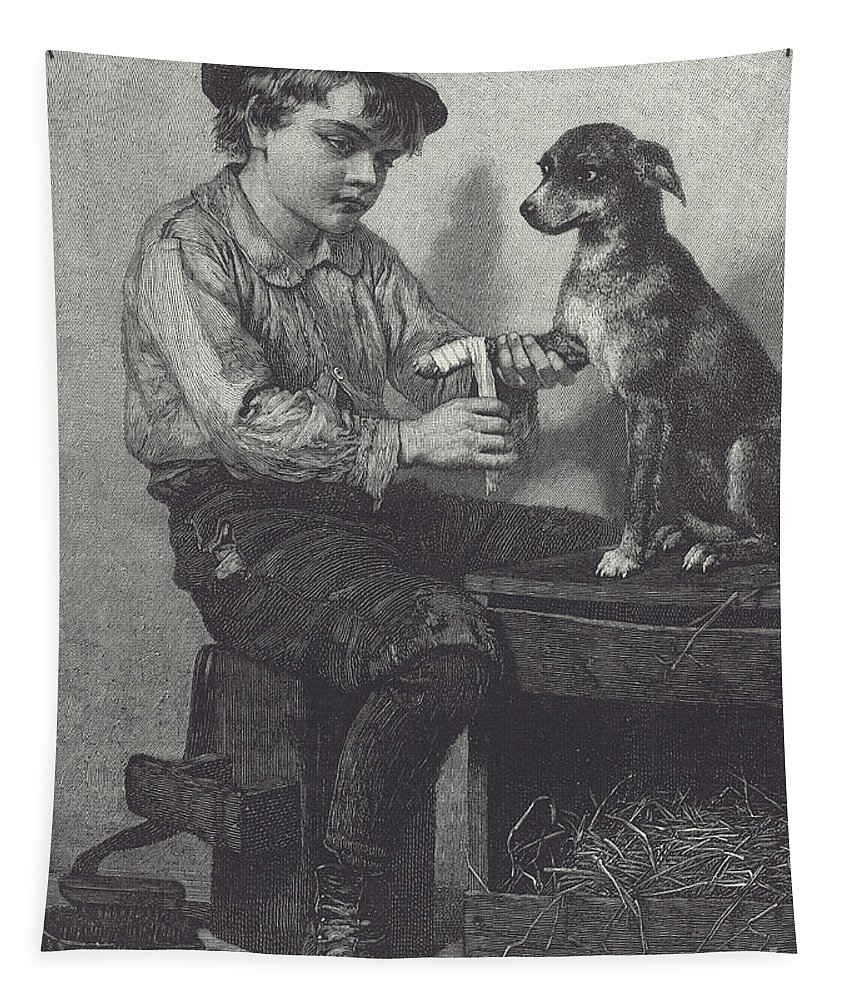 Boy Tapestry featuring the drawing Boy Mends Dog's Leg by British School