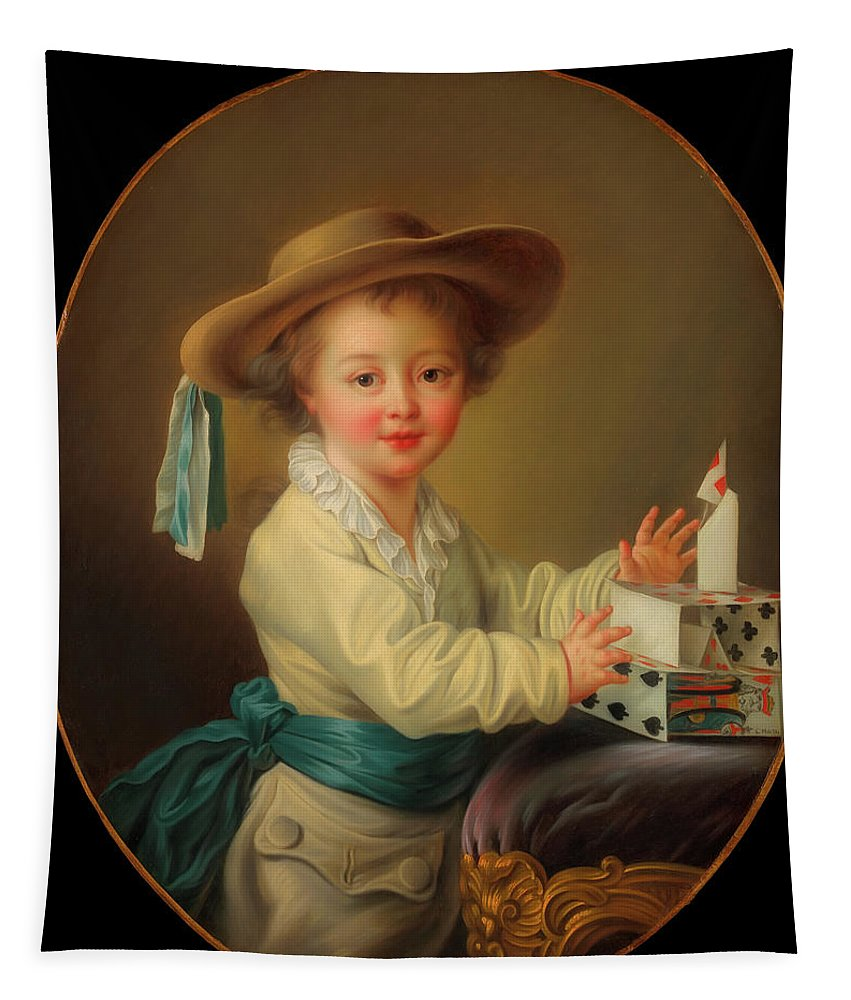 Painting Tapestry featuring the painting Boy With A House Of Cards                  by Mountain Dreams