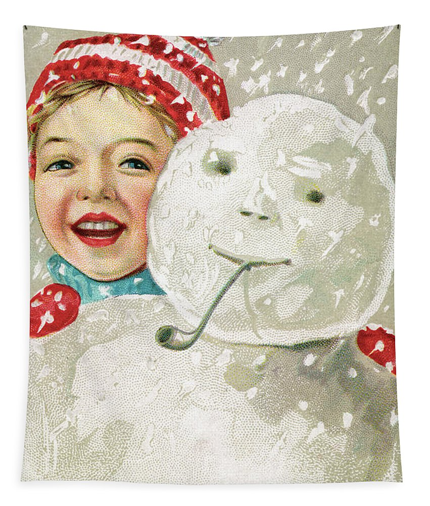 Christmas Tapestry featuring the painting Boy With A Snowman by American School