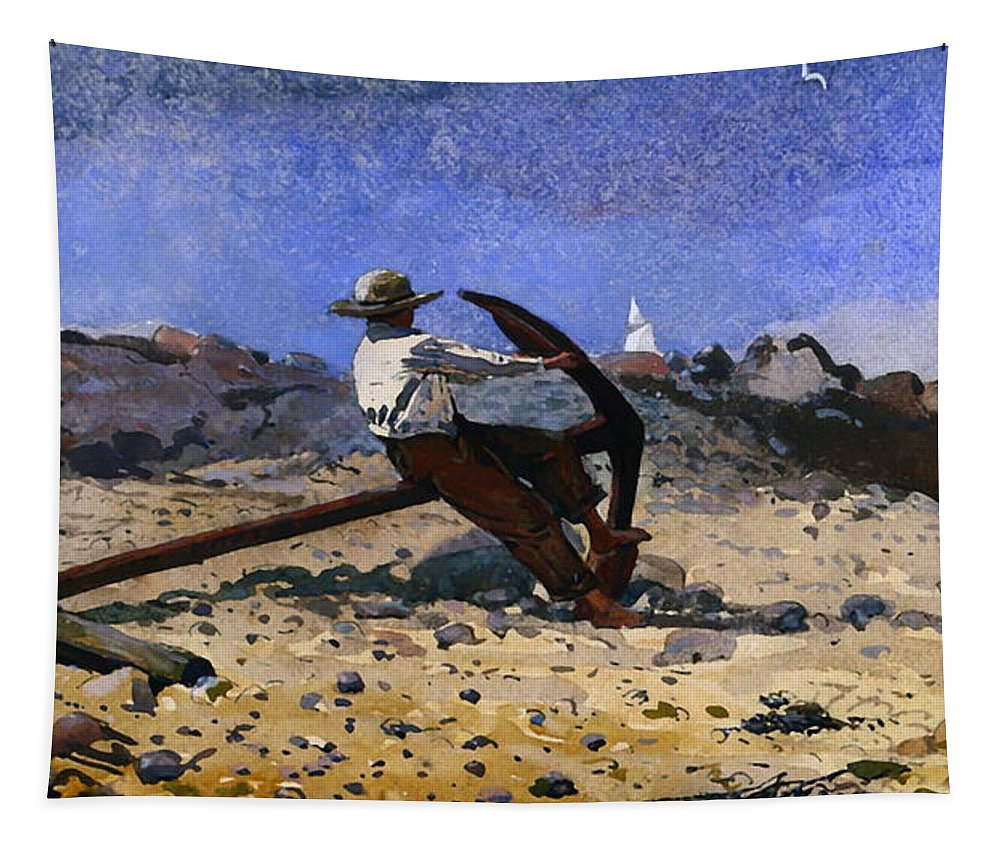 Painting Tapestry featuring the painting Boy With Anchor by Mountain Dreams