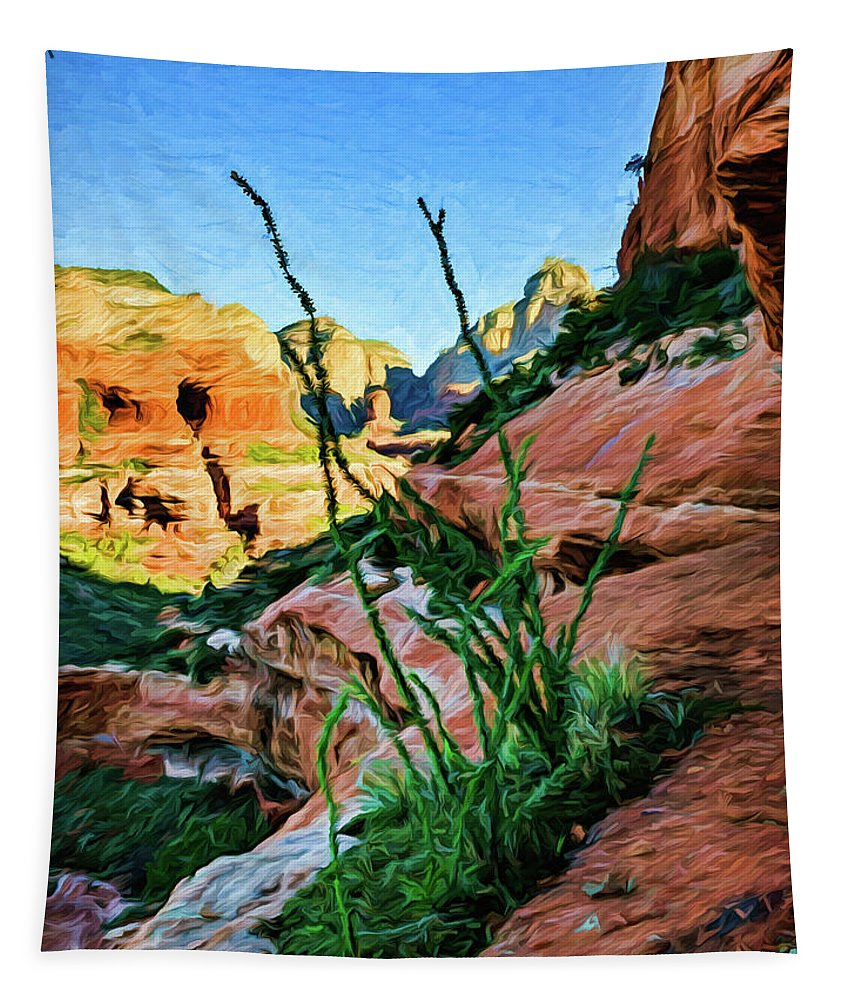 Arizona Tapestry featuring the photograph Boynton Canyon 04-735 by Scott McAllister
