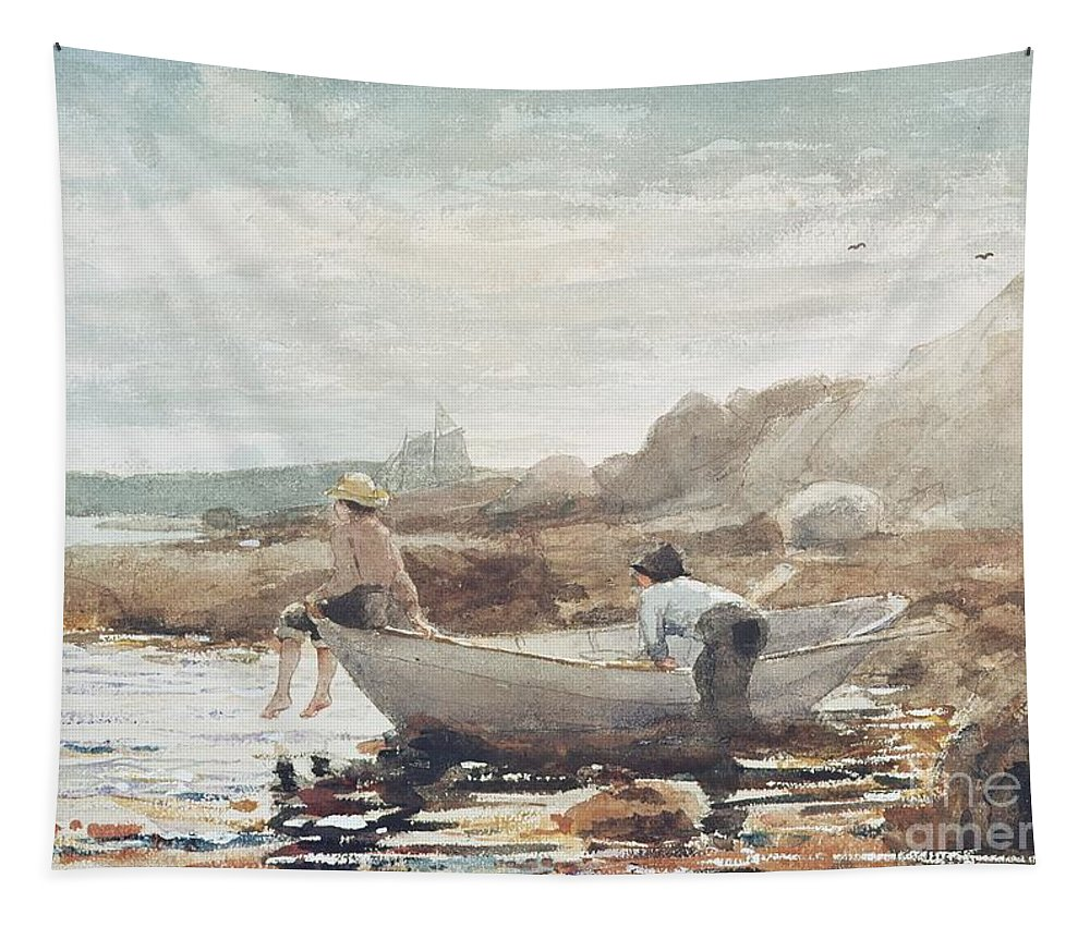 Boys On The Beach (w/c On Paper) By Winslow Homer (1836-1910) Rowing Boat; Fishing; Boy; Male; Children; Child; Playing; Summer; Coast; Coastal; Rocks; Rocky; Boat Tapestry featuring the painting Boys On The Beach by Winslow Homer