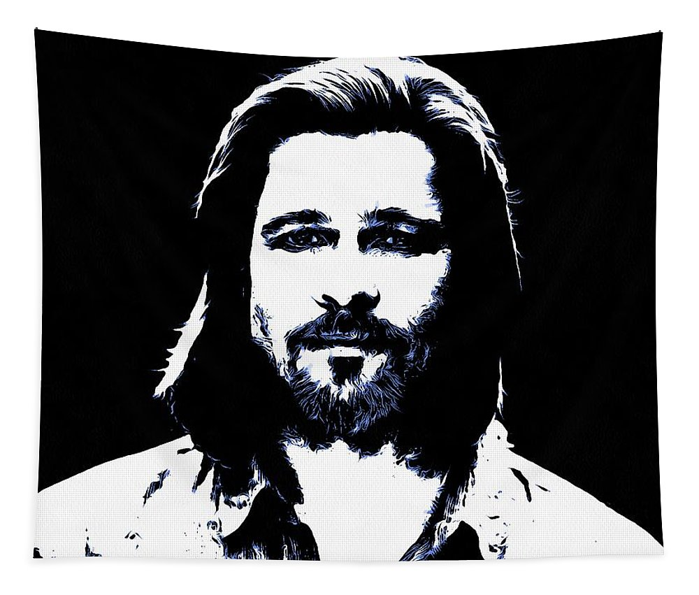Brad Pitt Tapestry featuring the digital art Brad Pitt by Sergey Lukashin