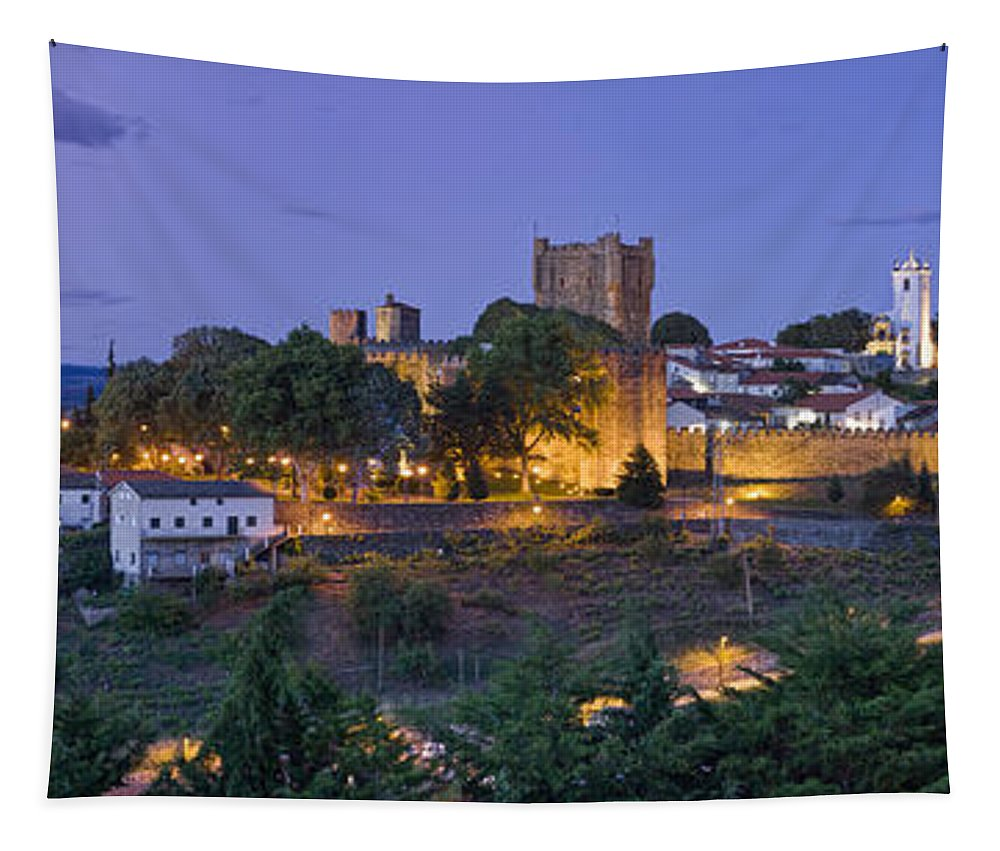 Castle Tapestry featuring the photograph Braganca Dusk Panorama by Mikehoward Photography