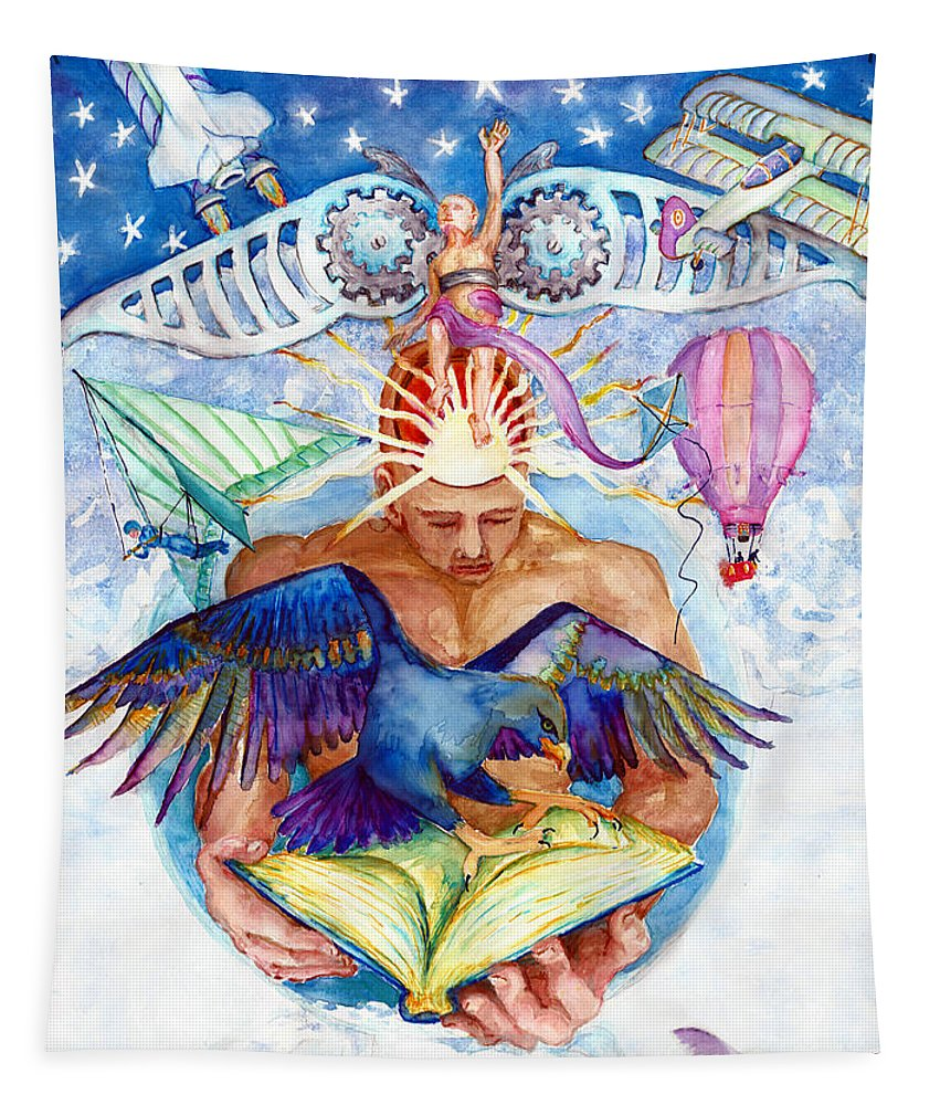 Brain Child Tapestry featuring the painting Brain Child by Melinda Dare Benfield