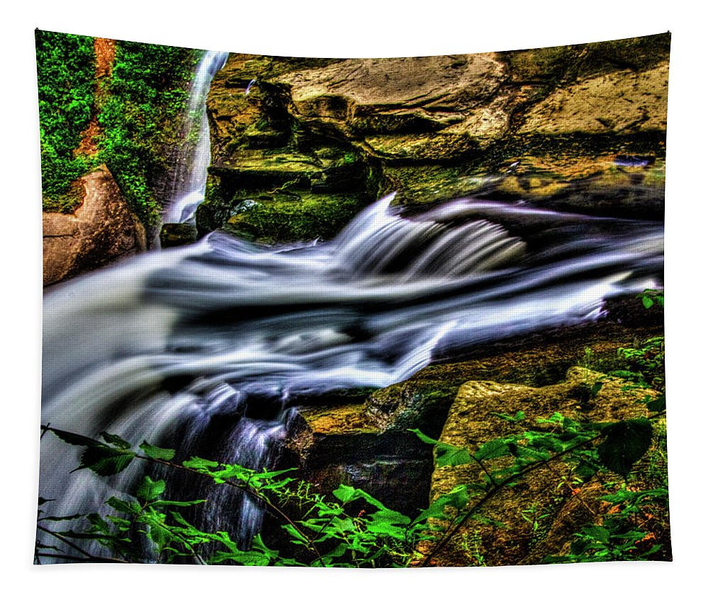 Ohio Tapestry featuring the photograph Brandywine Falls Up Top by Roger Passman
