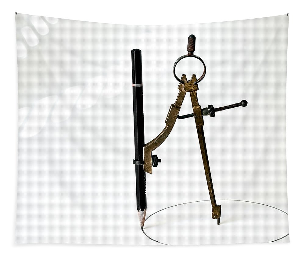 Vintage Tapestry featuring the photograph Brass Compass And Pencil by Bob Orsillo