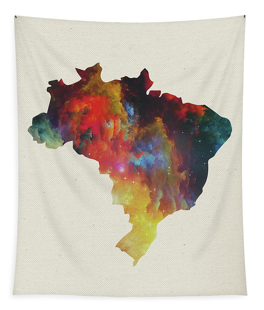 Brazil Tapestry featuring the mixed media Brazil Watercolor Map by Design Turnpike