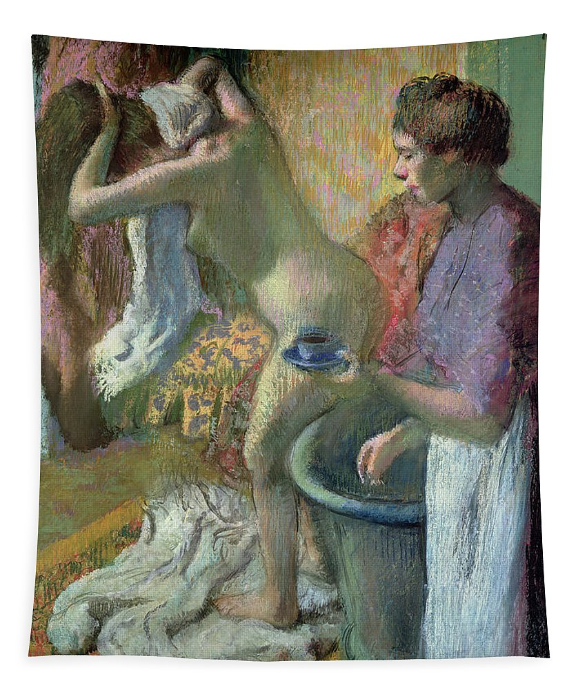 Breakfast Tapestry featuring the pastel Breakfast After A Bath by Edgar Degas