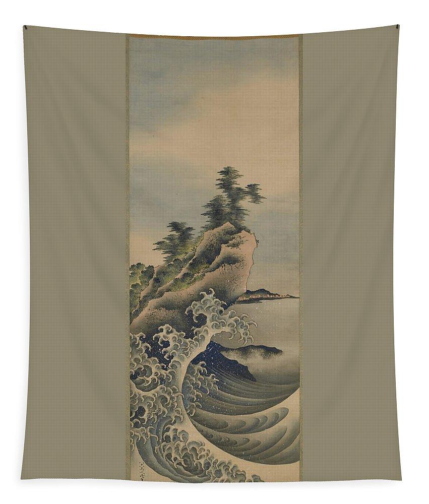 Katsushika Hokusai Tapestry featuring the painting Breaking Waves by Katsushika Hokusai