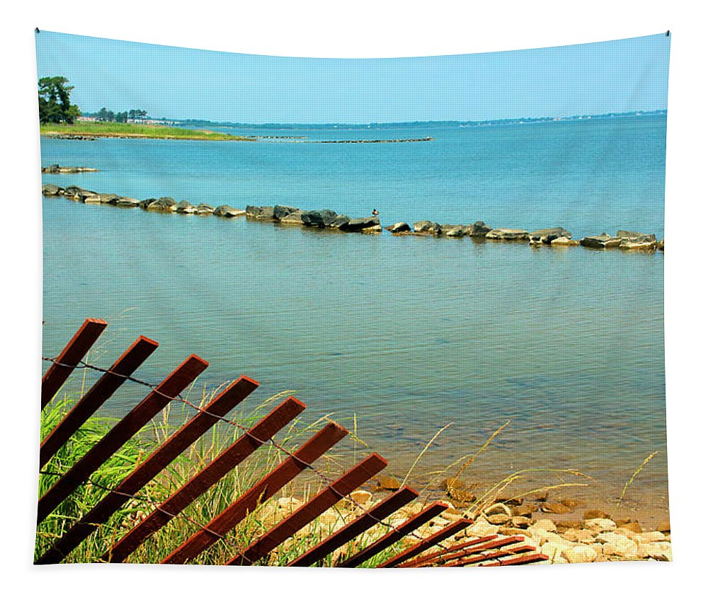 Shallow Cove Tapestry featuring the photograph Breakwater by Robert McCulloch